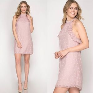 Sleeveless Polka Dot Halter Dress in Rose